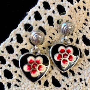 Brighton flower heart necklace.  1 1/4 inch heart